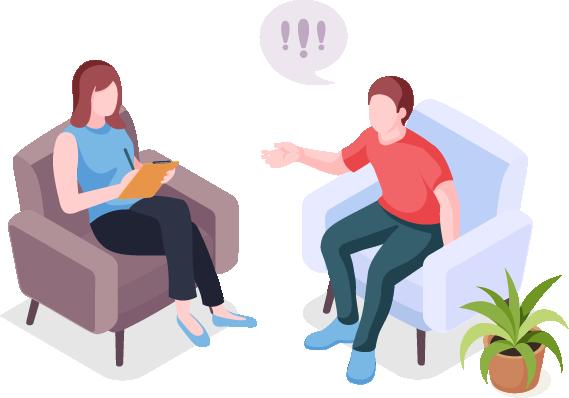 מטופל יושב על כורסא לשיחה עם המטפלת שלו
