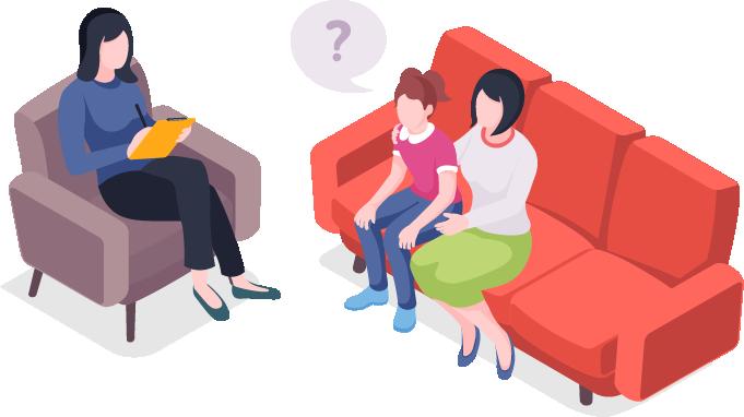 ילדה ואמא יושבות על ספה לשיחה עם המטפלת שלהן