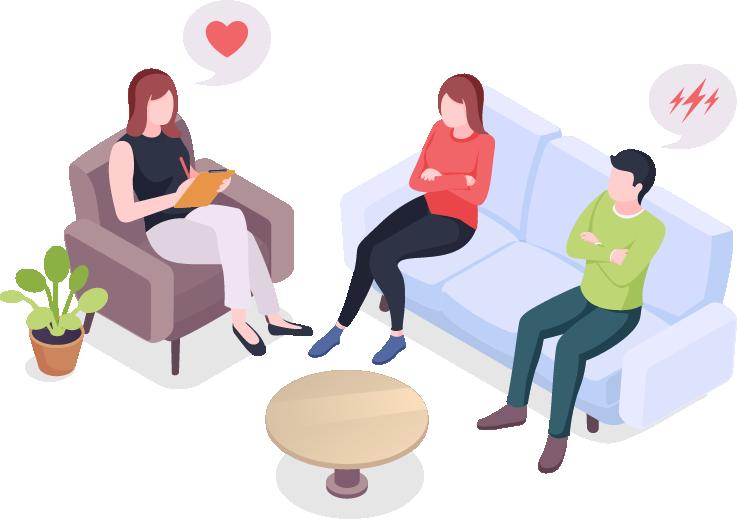 זוג כעוס יושב על ספה לשיחה עם המטפלת שלהם