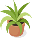 איור של צמח בעציץ חום